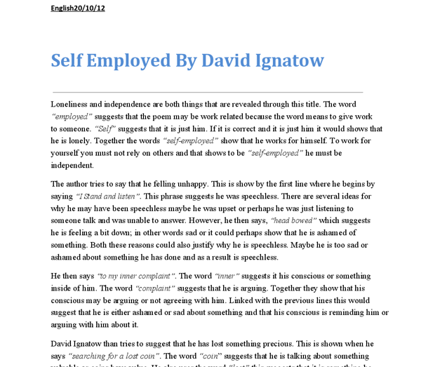 language analysis of self employed by david ignatow gcse  document image preview