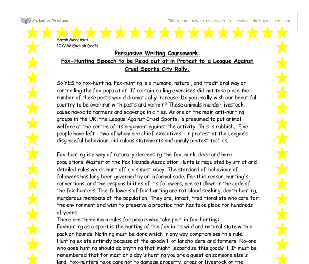 persuasive writing coursework fox hunting speech to be out at  document image preview