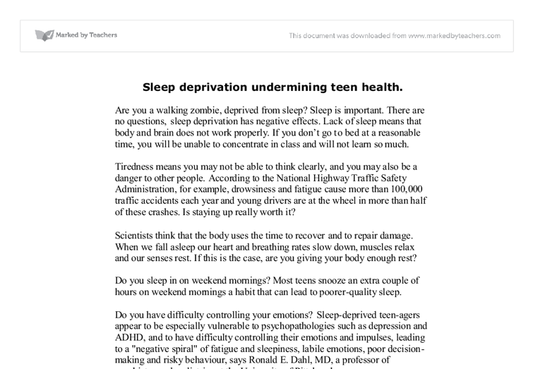 a good thesis statement for sleep deprivation A study on the effect of the sleeping habits -by 50 high school student in golden valley college on their education 2014 - 2015 abstract title: a study on the effect of the sleeping habit by 50 students in golden valley college table of contents chapter 1 introduction your behaviors can have a major impact on your sleep and can contribute to sleeplessness.