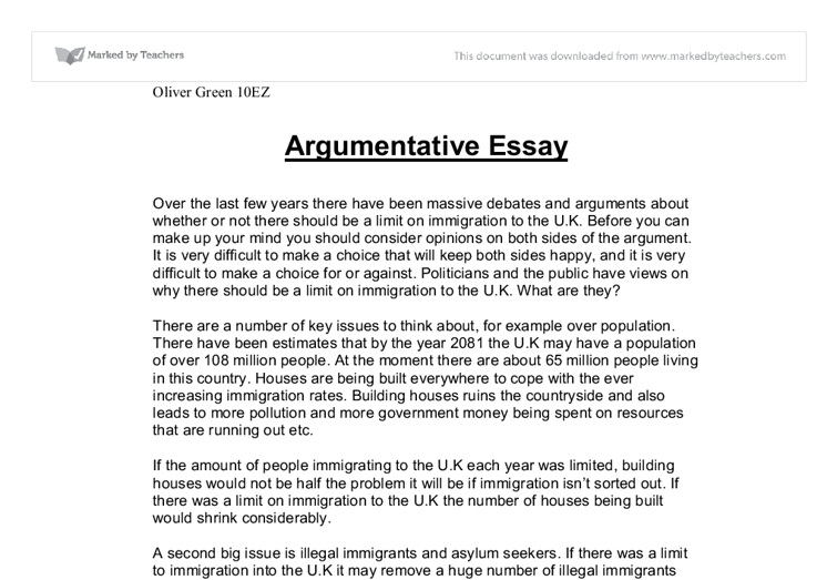 argumentative essay by oliver green gcse english marked by - English Essay Examples