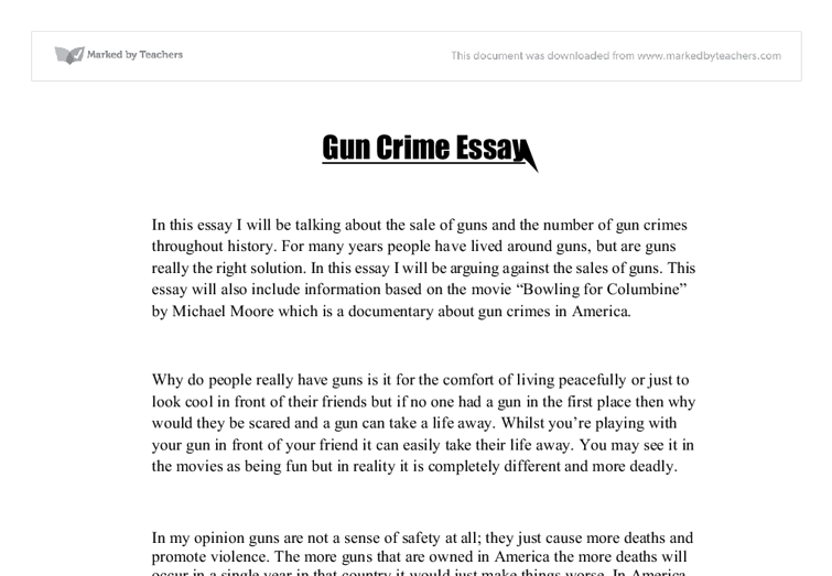 gun crime essay gcse english marked by teachers com document image preview