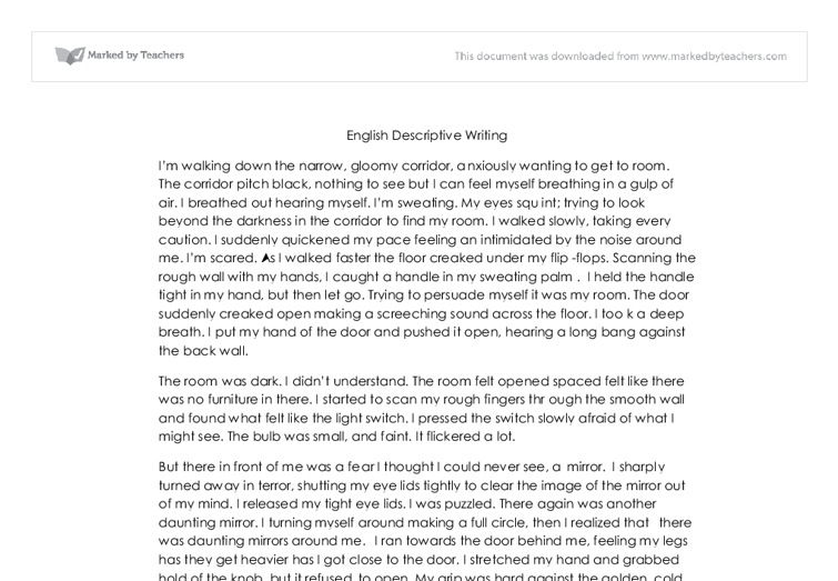 english descriptive writing gcse english marked by teachers com document image preview