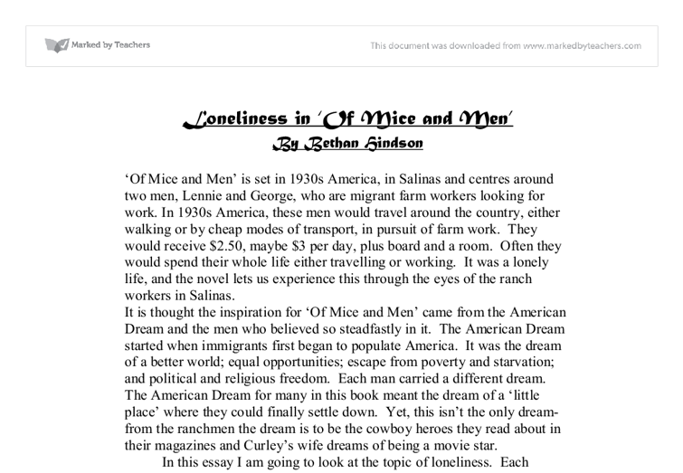 loneliness in of mice and men 2 essay In this essay you will get thorough thematic analysis on 【loneliness and  isolation in of mice and men】 ✅ everything you need to.