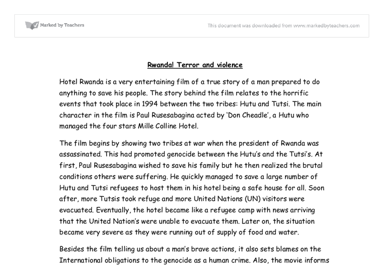 hotel rwanda film review gcse english marked by teachers com document image preview