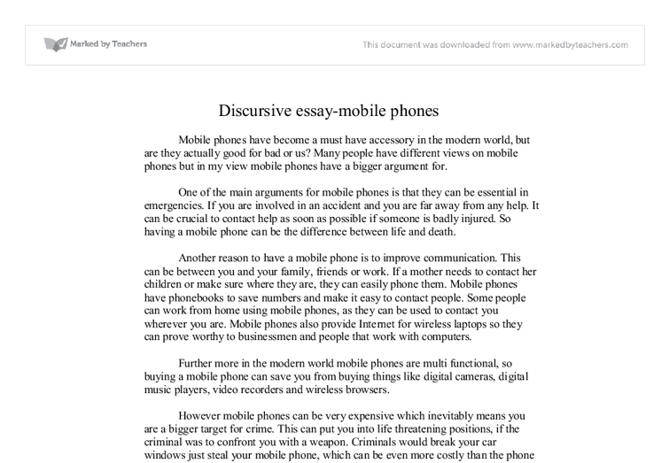 Argumentative essay on mobile phones
