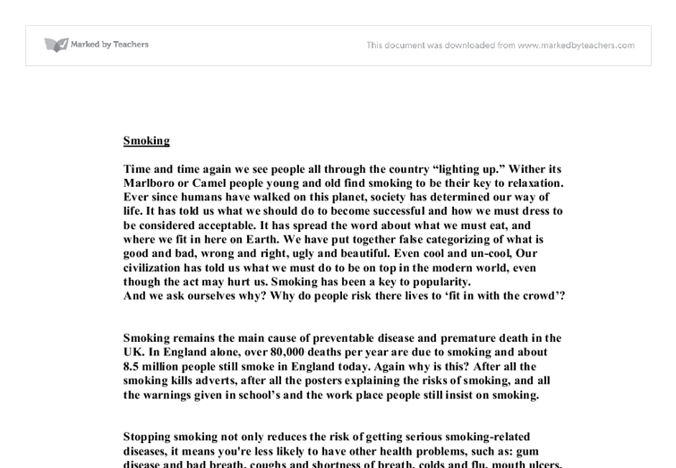 full essay on smoking