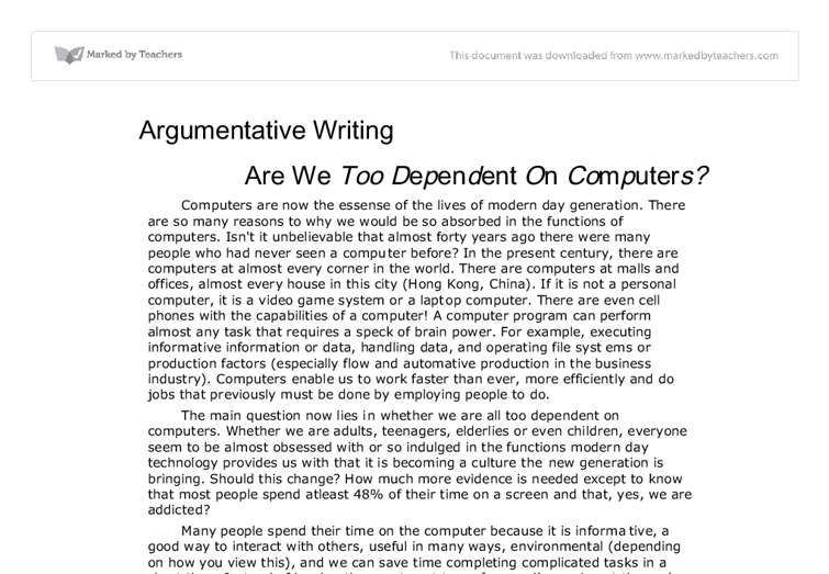 Argumentative essay on computers
