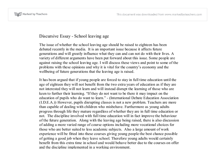 Discursive Essay On School Leaving Age Gcse English