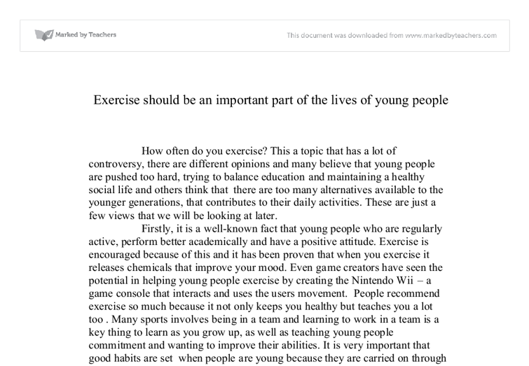 Persuasive essay on exercise