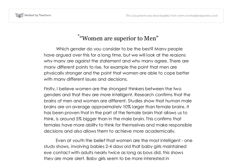 gcse persuasive essay women are superior to men gcse  document image preview