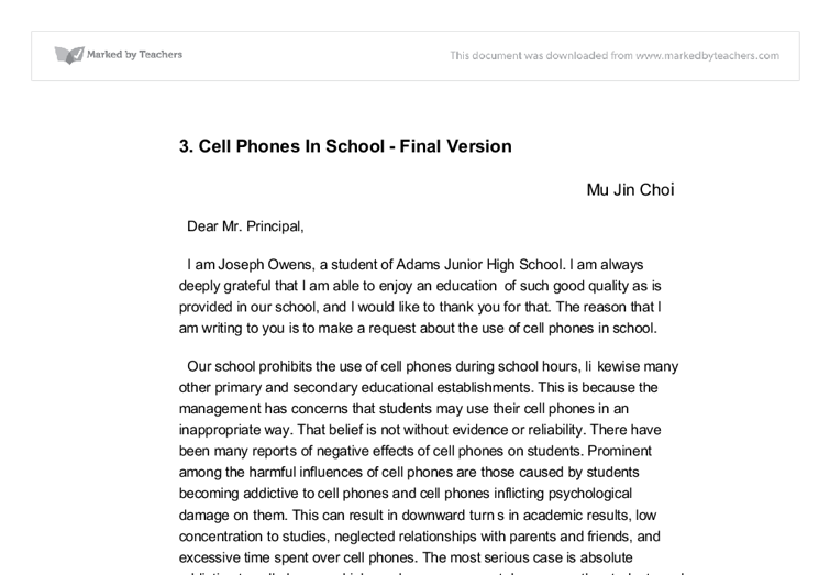 advantages of using cell phones in school gcse english marked  document image preview