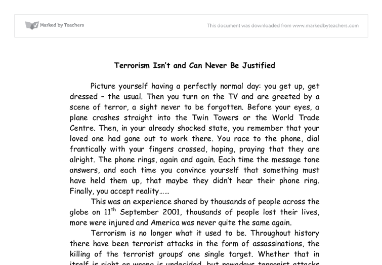 Essay on terrorism in english