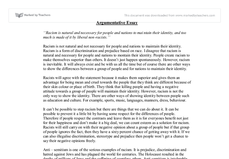 Example essay argumentative writing