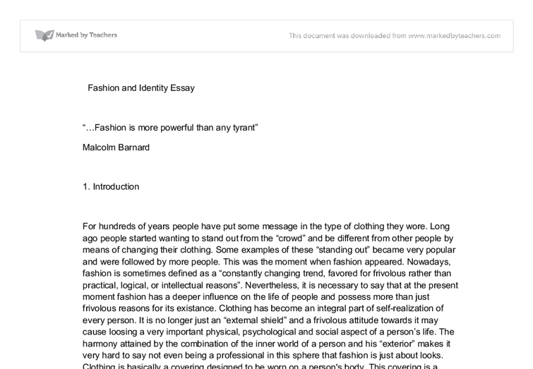 essays on the importance of fashion and on violence in video  document image preview