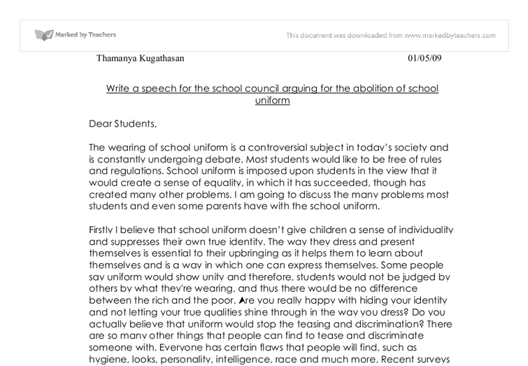 speech for the school council arguing for the abolition of school ...
