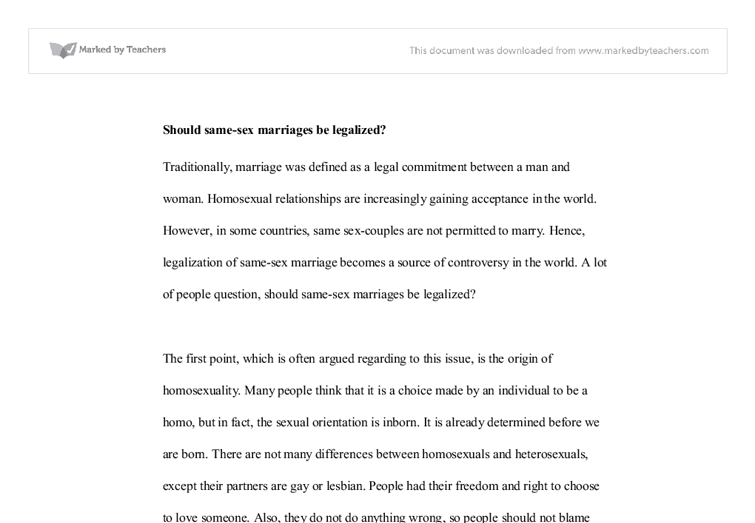 should same sex marriages be legalized gcse english marked by  document image preview