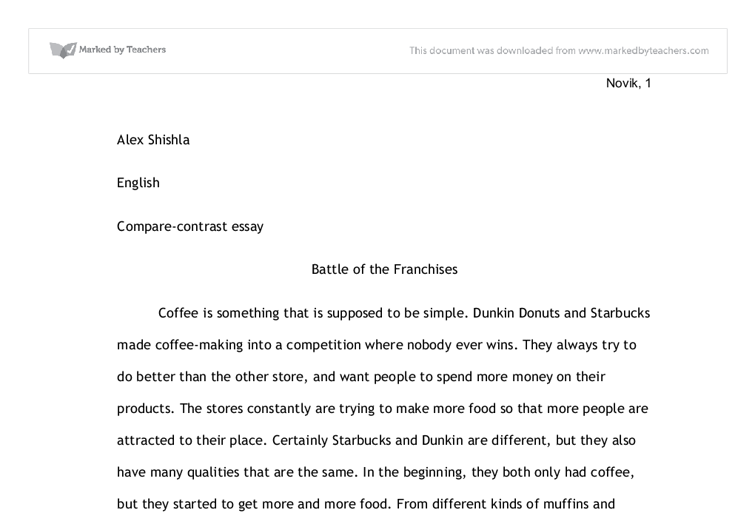 starbucks vrs dunkin gcse english marked by teachers com document image preview