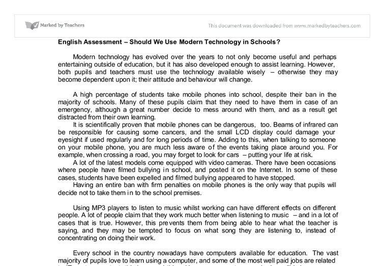 should we use modern technology in schools gcse english  document image preview