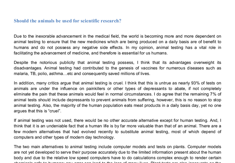 should animals be used for scientific research gcse english  document image preview