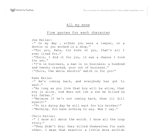 all my sons short esaay View essay - all my sons conflict essay from english 101 at windham high school, windham okeeffe 1 dylan okeeffe professor terry cargan english composition ii 8.