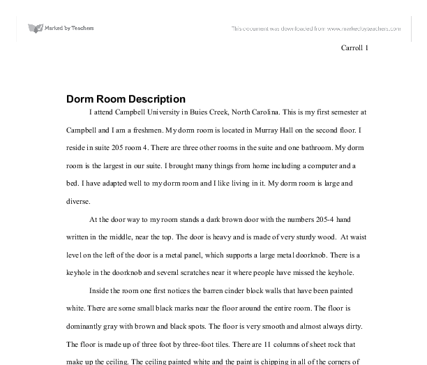 dorm room description gcse english marked by teachers com document image preview