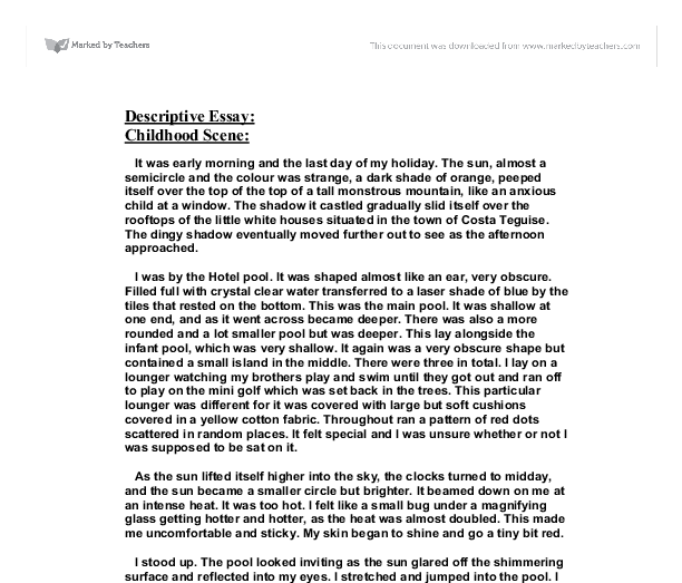 describe scene essay Example of descriptive writing august 29, 2002 police arrived on the scene and asked you to describe in writing what the robber looked like.