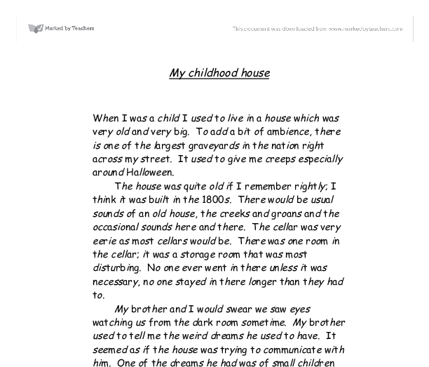 my childhood house gcse english marked by teachers com document image preview