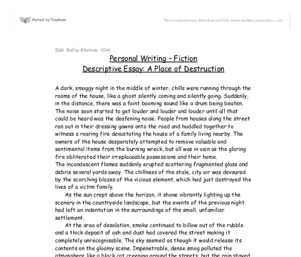 example of a descriptive essay about a place - Describe A Place Essay Example