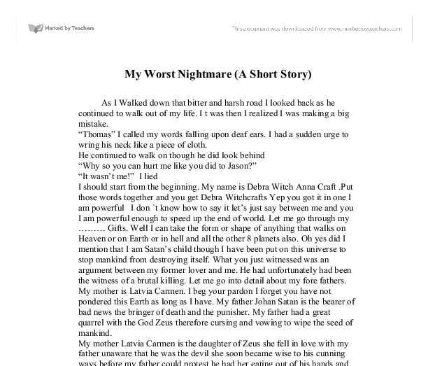 my worst nightmare a short story gcse english marked by  document image preview