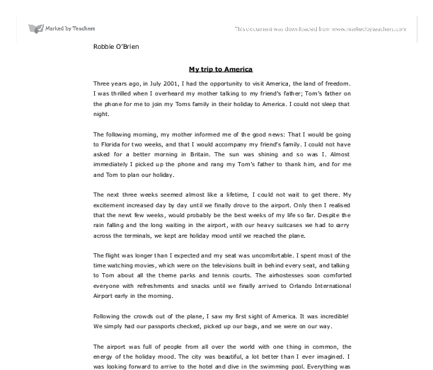 my first friend essay essay on tv commercials should be banned new  my trip to america gcse english marked by teachers com document image preview