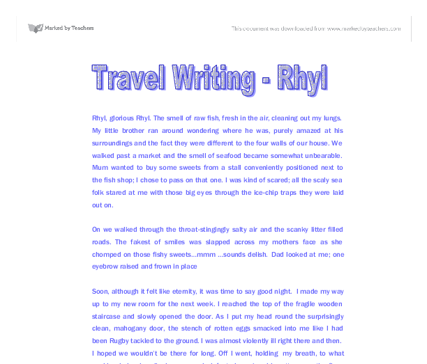 travel writing rhyl gcse english marked by teachers com document image preview