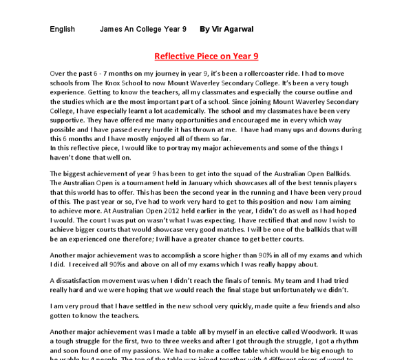 english semester reflection essay End of course reflection paper assignment  e-mail your paper as an  attachment to the instructor  three sample student reflection papers  many  times throughout this past semester i had work-related problems and could not  participate.