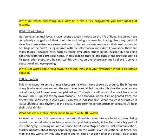 writing about tv music sport and my mobile phone gcse english  document image preview