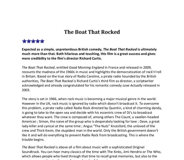 review of a film essay essay about film review movie review the  movie review the boat that rocked gcse english marked by document image preview