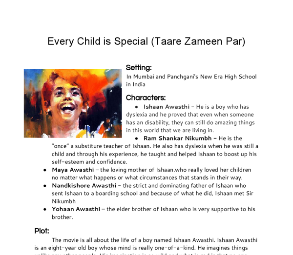 Examples List on new topic essay on my favourite movie taare zameen par