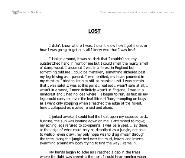 LOST-descriptive writing - GCSE English - Marked by Teachers.com