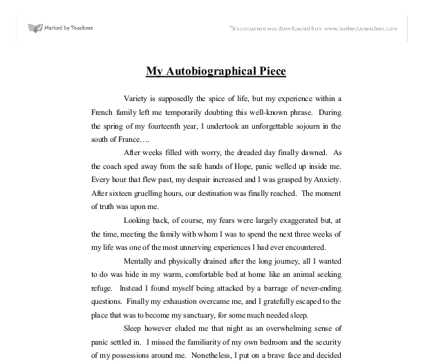 lesson plans writing autobiography rubric