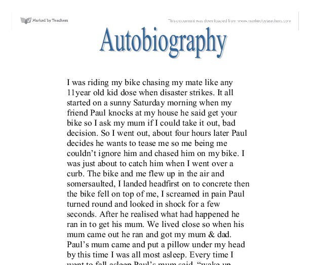 Writing an autobiographical narrative