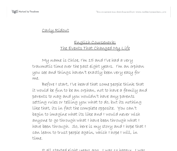 the events that changed my life gcse english marked by document image preview