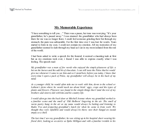 my memorable experience gcse english marked by teachers com document image preview