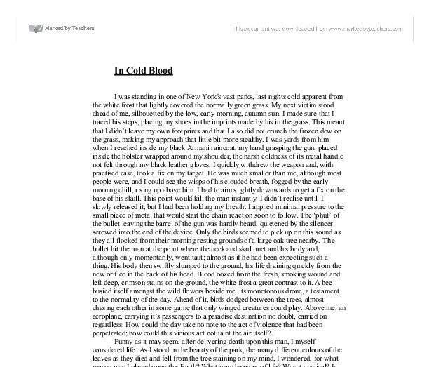 in cold blood gcse english marked by teachers com document image preview