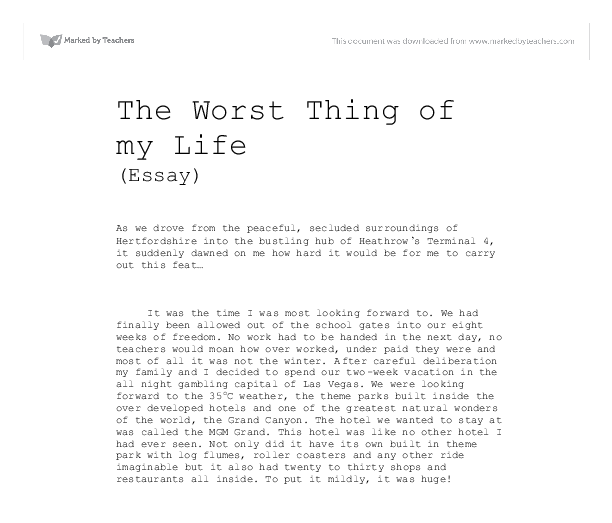 the worst holiday of my life essay