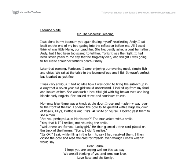 on the sidewalk bleeding gcse english marked by teachers com document image preview