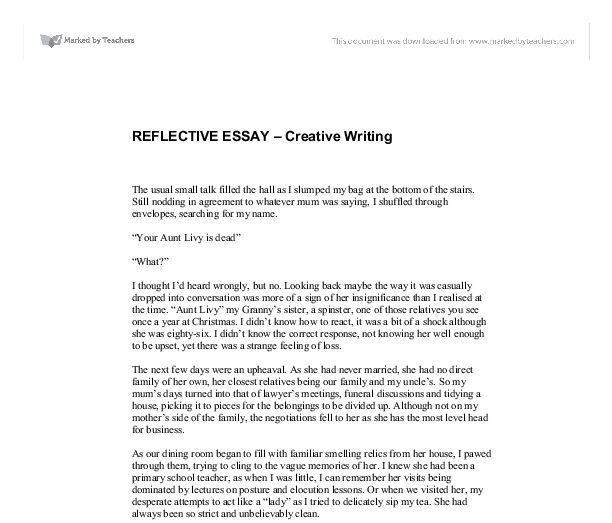 format for writing a reflective essay