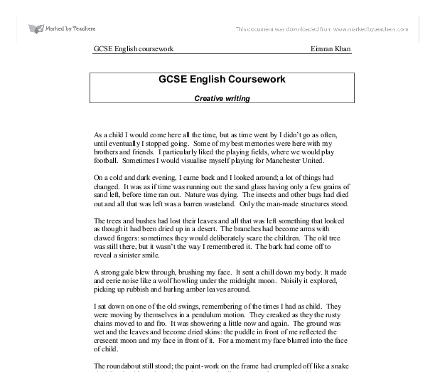 english language creative writing coursework gcse