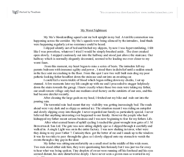 narrative essay my worst nightmare Narrative essay on my worst nightmare click to continue essay trees are my best friend how to write a literary analysis essay from jenna bates rubric.