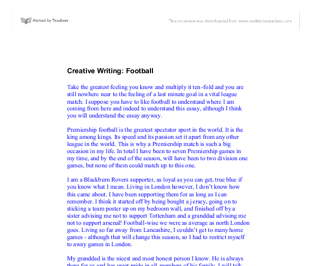 creative writing football gcse english marked by teachers com document image preview