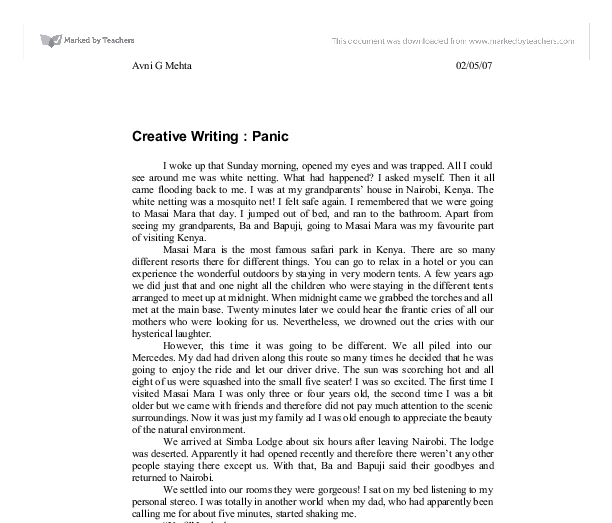 Creative writing essay on fear