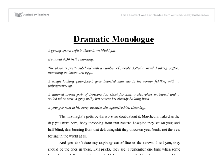 english language monologue coursework What you'll learn through your coursework, you will learn how to demonstrate knowledge of a range of english-language literary texts, genres, and terms.