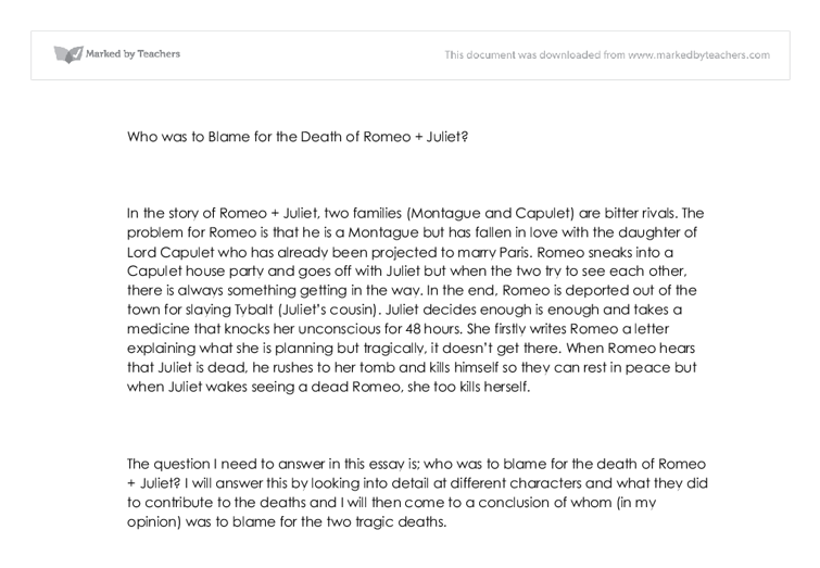 essay on romeo and juliets death who is responsible